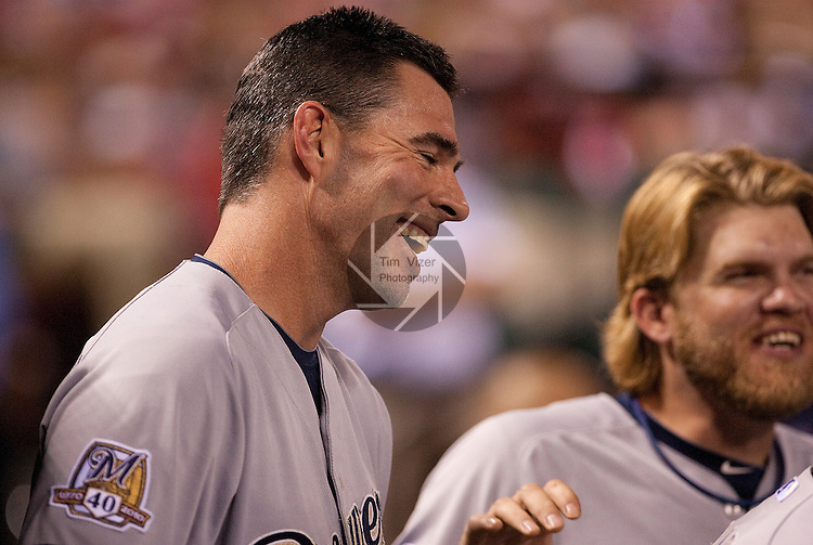 July 1, 2010        Milwaukee Brewers center fielder Jim Edmonds (15, left) shares a laugh in the dugout with teammate Milwaukee Brewers right fielder Corey Hart (1) late in the game.  The Milwaukee Brewers defeated the St. Louis Cardinals 4-1 in the first game of a four-game homestand at Busch Stadium in downtown St. Louis, MO on Thursday July 1, 2010.