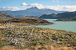 View of Lago Nordernskjöld Lake in Torres del Paine National Park in Patagonia Chile