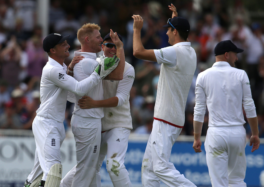 England's Ben Stokes celebrates taking the wicket of Australia's Shaun Marsh - SE Marsh c Root b Stokes 2<br /> <br /> Photographer Stephen White/CameraSport<br /> <br /> International Cricket - Investec Ashes Test Series 2015 - Fourth Test - England v Australia - Day 2 - Friday 7th August 2015 - Trent Bridge - Nottingham <br /> <br /> &copy; CameraSport - 43 Linden Ave. Countesthorpe. Leicester. England. LE8 5PG - Tel: +44 (0) 116 277 4147 - admin@camerasport.com - www.camerasport.com