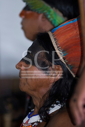 Altamira, Brazil. Encontro Xingu protest meeting about the proposed Belo Monte hydroeletric dam and other dams on the Xingu river and its tributaries. Kayapo chief Tinini Yudja, chief of Tuba Tuba village.