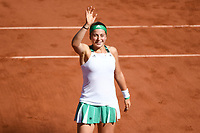 Jelena Ostapenko celebrates her victory during the day 14 of the French Open at Roland Garros on June 10, 2017 in Paris, France. (Photo by Anthony Dibon/Icon Sport)