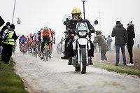 Greg Van Avermaet (BEL/CCC) leading the chasing group over the cobbles<br /> <br /> 117th Paris-Roubaix (1.UWT)<br /> 1 Day Race: Compiègne-Roubaix (257km)<br /> <br /> ©kramon