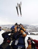 Photographers. Men's Ski Jumping K120 Team competition Monday morning at the Utah Olympic Park, 2002 Olympic Winter Games.; 02.18.2002, 10:10:41 AM<br />