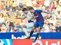 27th October 2019; Estadi Cuitat de Valencia, Valencia, Spain; La Liga Football, Levante versus Espanyol; Didac of RC Espanyol challenges for a high ball with C Clerc of Levante UD - Editorial Use