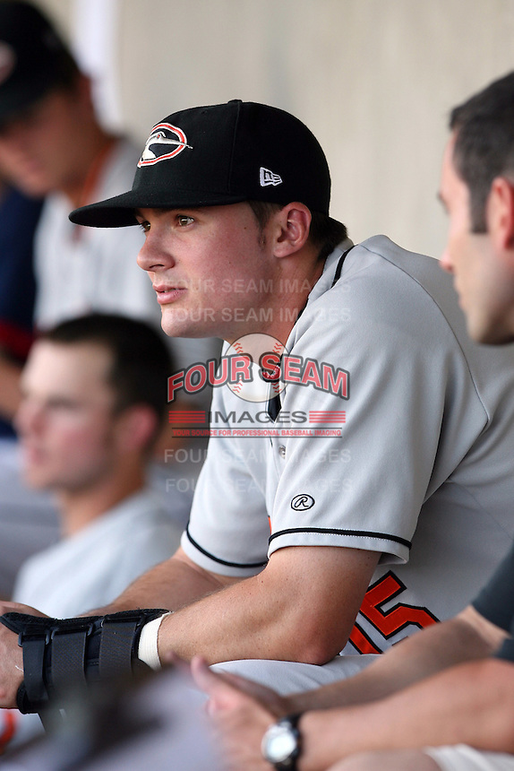 June 11th 2008:  Brendan Monaghan of the Delmarva Shorebirds, Class-A affiliate of the Baltimore Orioles, during a game at Classic Park in Eastlake, OH.  Photo by:  Mike Janes/Four Seam Images