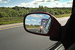Side view mirror with purple truck, Route 80, PA