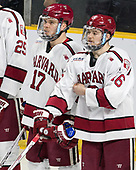 Sean Malone (Harvard - 17), Ryan Donato (Harvard - 16) - The Harvard University Crimson defeated the Providence College Friars 3-0 in their NCAA East regional semi-final on Friday, March 24, 2017, at Dunkin' Donuts Center in Providence, Rhode Island.