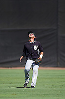 GCL Yankees West center fielder Pablo Olivares (35) gets under a fly ball during a game against the GCL Yankees East on August 3, 2016 at the Yankees Complex in Tampa, Florida.  GCL Yankees East defeated GCL Yankees West 12-2.  (Mike Janes/Four Seam Images)