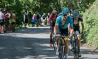 (eventual stage winner) Jakob Fuglsang (DEN/Astana) up the Mont du Chat (HC/1504m/8.7km/10.3%)<br /> <br /> Stage 6: Le parc des oiseaux/Villars-Les-Dombes &rsaquo; La Motte-Servolex (147km)<br /> 69th Crit&eacute;rium du Dauphin&eacute; 2017