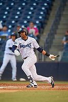 Tampa Tarpons left fielder Isiah Gilliam (24) follows through on a swing during a game against the Daytona Tortugas on April 18, 2018 at George M. Steinbrenner Field in Tampa, Florida.  Tampa defeated Daytona 12-0.  (Mike Janes/Four Seam Images)