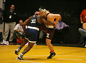 Dashaun Thomas and Zeal Mcgrew wrestle at the 285 weight class during the NY State Wrestling Championships at Blue Cross Arena on March 8, 2008 in Rochester, New York.  (Copyright Mike Janes Photography)