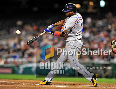 29 September 2009: New York Mets' second baseman Luis Castillo in action against the Washington Nationals at Nationals Park in Washington, DC. The Nationals rallied to defeat the Mets 4-3 in the second game of their final 3-game home series. Mandatory Credit: Ed Wolfstein Photo