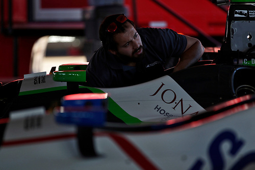 26-27 February, 2016, Avondale, Arizona USA<br /> Dale Coyne crewman at work on Conor Daly's car<br /> ©2016, Phillip Abbott<br /> LAT Photographic