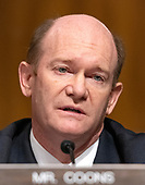 United States Senator Chris Coons (Democrat of Delaware) makes an opening statement as the  US Senate Committee on the Judiciary meets to vote on the nomination of Judge Brett Kavanaugh to be Associate Justice of the US Supreme Court to replace the retiring Justice Anthony Kennedy on Capitol Hill in Washington, DC on Friday, September 28, 2018.  If the committee votes in favor of Judge Kavanaugh then it goes to the full US Senate for a final vote.<br /> Credit: Ron Sachs / CNP<br /> (RESTRICTION: NO New York or New Jersey Newspapers or newspapers within a 75 mile radius of New York City)