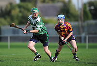 6th October 2013; David Needham, Lucan Sarsfields, in action against Donnachada O'Loaghaire, St Josephs OBC. Dublin Junior F Hurling Championship Group A, Lucan Sarsfields v St Josephs OBC, 12th Lock, Lucan, Co Dublin. Picture credit: Tommy Grealy / Actionshots.ie