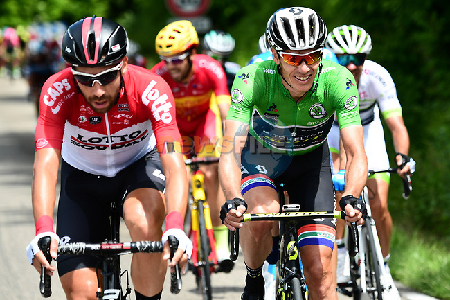 The breakaway group featuring Thomas De Gendt (BEL) Lotto-Soudal, Maillot Vert Daryl Impey (RSA) Mitchelton-Scott and Spanish National Champion Jesús Herrada (ESP) Cofidis, during Stage 4 of the 2018 Criterium du Dauphine 2018 running 181km from Chazey sur Ain to Lans en Vercors, France. 7th June 2018.<br /> Picture: ASO/Alex Broadway | Cyclefile<br /> <br /> <br /> All photos usage must carry mandatory copyright credit (© Cyclefile | ASO/Alex Broadway)