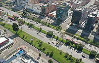 BOGOTA, COLOMBIA - March 23:  Aerial view of an almost empty Bogota street on March 23, 2020. Colombian government declared a nationwide quarantine from March 24 until April 13 to prevent the spread of the Coronavirus that has 306 confirmed cases in the country at the moment. (Photo by Daniel Munoz/VIEWpress via Getty Images)