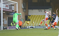 Blackpool's Oliver Turton scores his side's first goal  <br /> <br /> Photographer Rob Newell/CameraSport<br /> <br /> The EFL Sky Bet League One - Southend United v Blackpool - Saturday 17th November 2018 - Roots Hall - Southend<br /> <br /> World Copyright &copy; 2018 CameraSport. All rights reserved. 43 Linden Ave. Countesthorpe. Leicester. England. LE8 5PG - Tel: +44 (0) 116 277 4147 - admin@camerasport.com - www.camerasport.com