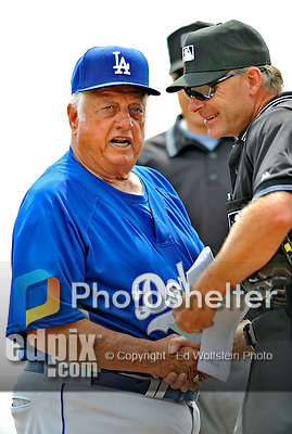 15 March 2008: Los Angeles Dodgers' interim manager Tommy Lasorda meets the game umpires pat home plate prior to a Spring Training game between the Washington Nationals and the LA Dodgers at at Space Coast Stadium, in Viera, Florida. Lasorda is replacing manager Joe Torre who is traveling to China with a group of Dodger players for an exhibition series of games. ..Mandatory Photo Credit: Ed Wolfstein Photo