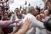 June 23, 2018: Andres Manuel Lopez Obrador, an opposition candidate of MORENA party running for presidency, arrives to his campaign rally at Xanenetla park in Puebla City, Mexico. National elections will be hold on July 1.