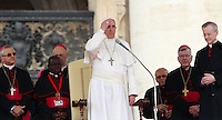 Papa Francesco tiene l'udienza generale del mercoledi' in Piazza San Pietro, Citta' del Vaticano, 23 aprile 2014.<br /> Pope Francis attends his weekly general audience in St. Peter's Square at the Vatican, 23 April 2014.<br /> UPDATE IMAGES PRESS/Isabella Bonotto<br /> <br /> STRICTLY ONLY FOR EDITORIAL USE