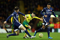8th November 2019; Carrow Road, Norwich, Norfolk, England, English Premier League Football, Norwich versus Watford; Craig Cathcart of Watford tackles Emi Buendia of Norwich City - Strictly Editorial Use Only. No use with unauthorized audio, video, data, fixture lists, club/league logos or 'live' services. Online in-match use limited to 120 images, no video emulation. No use in betting, games or single club/league/player publications