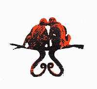 Two monkeys kissing on branch with tails forming heart shape