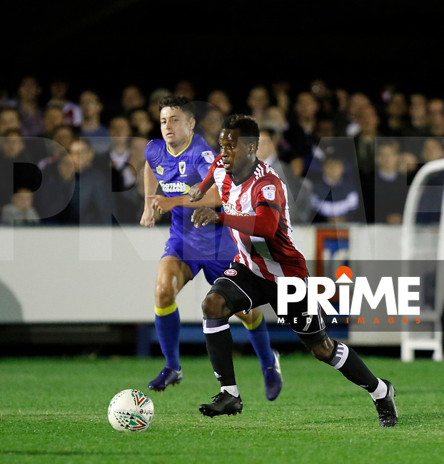 Brentford's Florian Jozefzoon on the ball during the Carabao Cup match between AFC Wimbledon and Brentford at the Cherry Red Records Stadium, Kingston, England on 8 August 2017. Photo by Carlton Myrie.