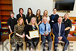 Staff of Momentum Support at the University Hospital Kerry who received the Gold Award from the Irish Accommodation Services at the hospital on Tuesday.<br /> Seated l to r: Sinead Grogan (Operations Manager Momentum Support), Mary O&rsquo;Shea Moran (Site Manager Momentum Support), Ferghal Grimes (Hospital Manager) and David Ferguson (Operations Director Momentum Support).<br /> Back l to r: Margaret O&rsquo;Shea, Eileen Murphy, Jacinta O&rsquo;Connor, Dorata Mizera, Anna Knysak (Supervisor), Mari O&rsquo;Connell (Director of Nursing) and Eileen Barry.