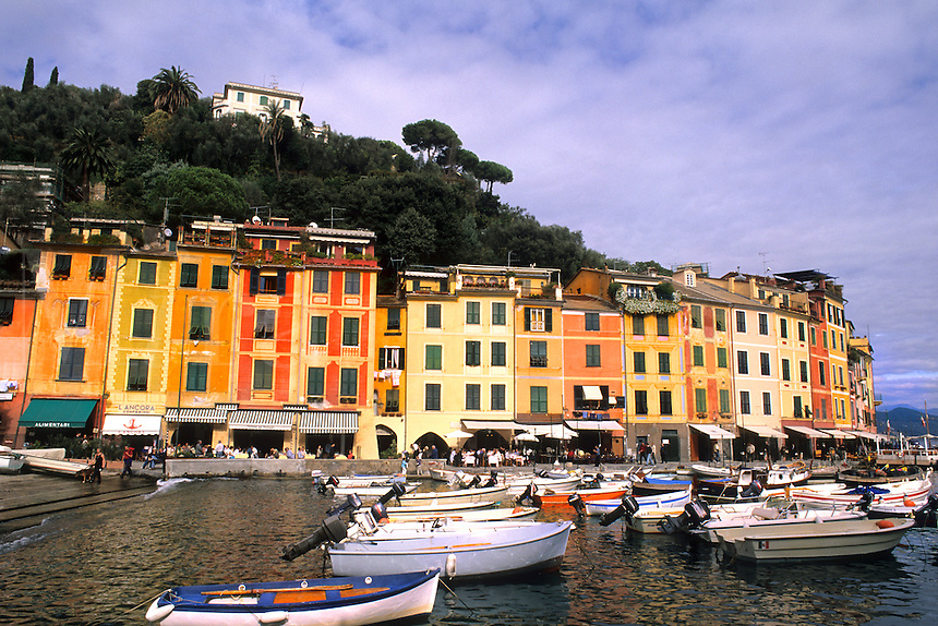 Beautifl vista of one of most beautiful villages of Italy Portofino on the western coast with colors with boat