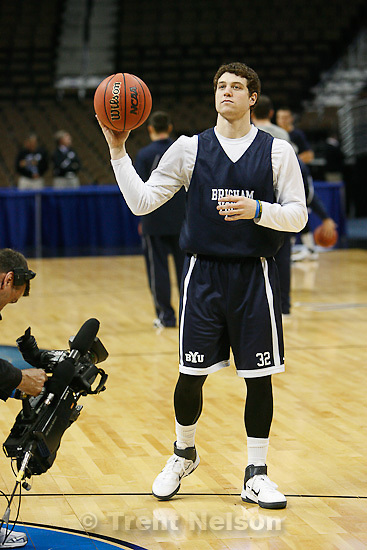 Trent Nelson  |  The Salt Lake Tribune.BYU's Jimmer Fredette in the spotlight as the BYU's men's basketball team practices at the Pepsi Center in Denver, Colorado, Wednesday, March 16, 2011 a day ahead of their first round matchup with Wofford.
