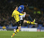 Alain Rochet of BSc Young Boys crashes into the back of Romelu Lukaku of Everton - UEFA Europa League Round of 32 Second Leg - Everton vs Young Boys - Goodison Park Stadium - Liverpool - England - 26th February 2015 - Picture Simon Bellis/Sportimage