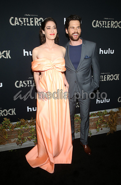 """14 October 2019 - Los Angeles, California - Lizzy Caplan, Tom Riley. Premiere Of Hulu's """"Castle Rock"""" Season 2 held at The AMC Sunset 5. Photo Credit: FayeS/AdMedia"""