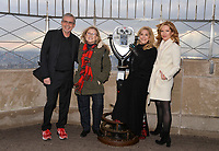 """New York - DECEMBER 17: Nancy Cartwright, Pamela Hayden, Stephanie Gillis and Mike Scully, participate in the ceremonial lighting of the Empire State Building as they attend the Empire State Building Celebration of the 30th Anniversary of FOX's """"The Simpsons"""" on December 17, 2018 in New York City.  (Photo by Anthony Behar/FOX/PictureGroup)"""