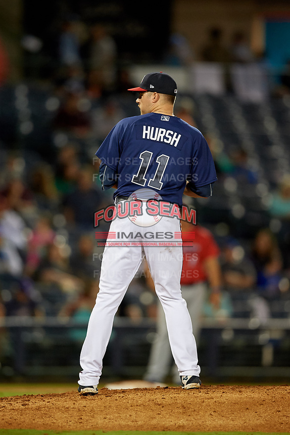 Mississippi Braves relief pitcher Jason Hursh (11) during a Southern League game against the Jacksonville Jumbo Shrimp on May 4, 2019 at Trustmark Park in Pearl, Mississippi.  Mississippi defeated Jacksonville 2-0.  (Mike Janes/Four Seam Images)