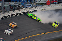 Feb 7, 2009; Daytona Beach, FL, USA; ARCA RE/MAX Series driver Patrick Sheltra (60) crashes during the Lucas Oil Slick Mist 200 at Daytona International Speedway. Mandatory Credit: Mark J. Rebilas-