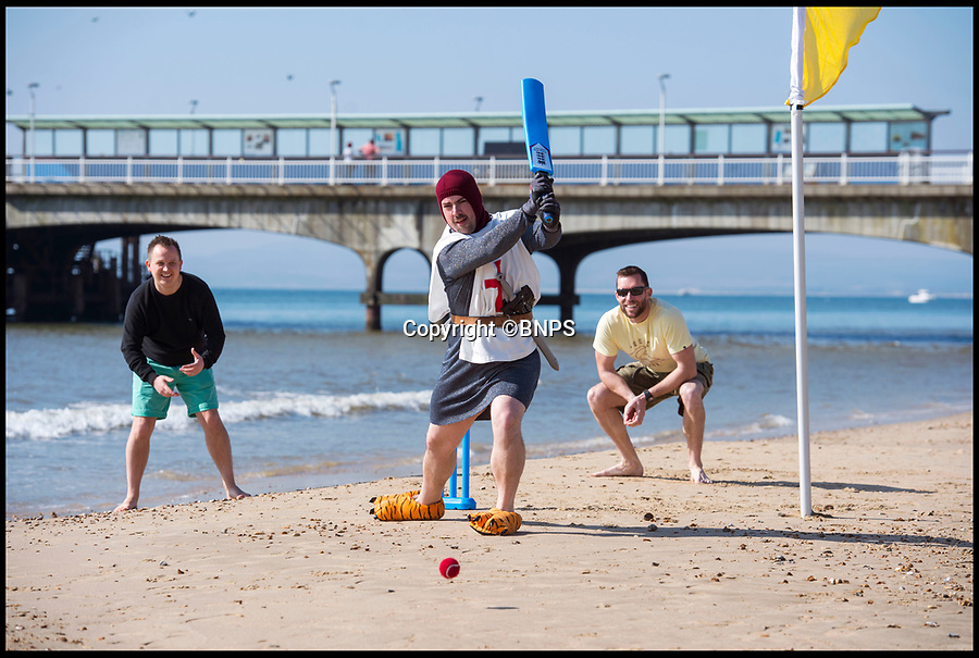 BNPS.co.uk (01202 558833)<br /> Pic: PhilYeomans/BNPS<br /> <br /> King Arthur playing cricket - The Hen & Stag season is well under way on Bmth beach.<br /> <br /> Holidaymakers make the most of the first hot weekend of the year on Bmthn beach today.