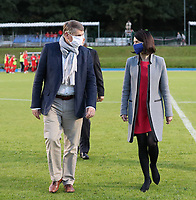 Minister of sports and Federation Wallonia-Brussels Valerie Glatigny (right) pictured before a female soccer game between FC Femina White Star Woluwe and Dames Zulte Waregem  on the first matchday of the 2020 - 2021 season of Belgian Women's SuperLeague , Friday 28 of August 2020  in Sint Lambrechts Woluwe , Belgium . PHOTO SPORTPIX.BE | SPP | SEVIL OKTEM