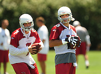 Jun 9, 2008; Tempe, AZ, USA; Arizona Cardinals quarterback (13) Kurt Warner looks towards quarterback (7) Matt Leinart during mini camp at the Cardinals practice facility. Mandatory Credit: Mark J. Rebilas-