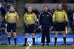 20 November 2016: Match Officials. From left: Assistant Referee Aaron Gallagher, Referee David Erbacher, Fourth Official Carmen Serbio, and Assistant Referee Dustin Thorne. The University of North Carolina Tar Heels hosted the Florida Gulf Coast University Eagles at Fetzer Field in Chapel Hill, North Carolina in a 2016 NCAA Division I Men's Soccer Tournament Second Round match. UNC defeated FGCU 3-2 in two overtimes.