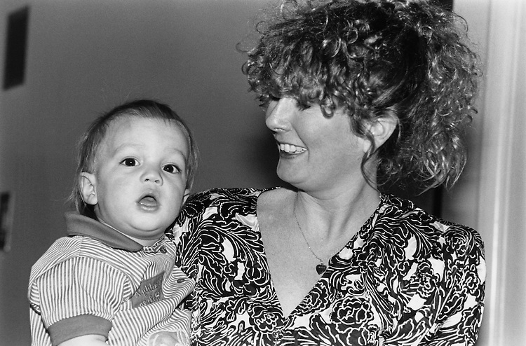 Stacy Hefner (daughter of Rep. Bill Hefner) and her son Joseph. January 21, 1991. (Photo by Maureen Keating/CQ Roll Call)