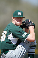 Michigan State Spartans pitcher Cam Vieaux (36) poses for a photo after a game against the Illinois State Redbirds on March 8, 2016 at North Charlotte Regional Park in Port Charlotte, Florida.  Michigan State defeated Illinois State 15-0.  (Mike Janes/Four Seam Images)