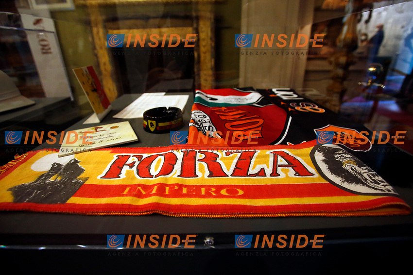 AS Rome's scarves ( he was a fan of Rome football team) during the o opening of the actor Alberto Sordi's house museum in Rome. In occasion of the centenary of his  birth, the villa in the heart of Rome, where he lived from 1959 to death, was opened to the public, becoming a house-museum. The house still contains thousand of objects belonged to the actor. In the garden two more tensile structures were added, containing stage clothes, posters of his films, photos and much more. <br /> Rome (Italy), September 15th 2020<br /> Photo Samantha Zucchi Insidefoto