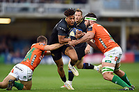 Anthony Watson of Bath Rugby takes on the Benetton Rugby defence. European Rugby Champions Cup match, between Bath Rugby and Benetton Rugby on October 14, 2017 at the Recreation Ground in Bath, England. Photo by: Patrick Khachfe / Onside Images