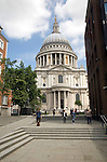 View of St Paul's cathedral from the south on Jubilee Walkway, City of London, London