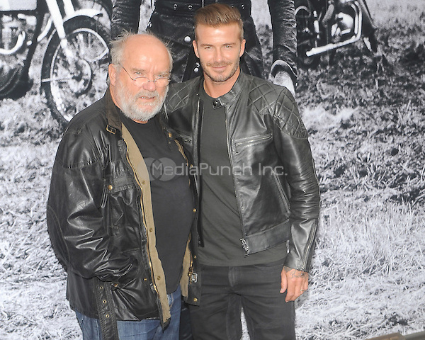 New York, NY-September 9: Photographer and Filmmaker Peter Lindbergh and David Beckham are spotted outside the Belstaff House on September 9, 2014  in New York City. Credit: John Palmer/MediaPunch