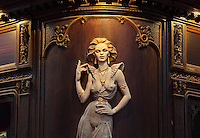 Painted wooden relief of a lascivious woman in Art Nouveau style, on the facade of the Cafe per Lei on the corner of Husova and Karlova streets, Old Town, Prague, Czech Republic. The historic centre of Prague was declared a UNESCO World Heritage Site in 1992. Picture by Manuel Cohen