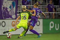 Orlando, FL - Thursday September 07, 2017: Megan Rapinoe, Monica Hickmann Alves during a regular season National Women's Soccer League (NWSL) match between the Orlando Pride and the Seattle Reign FC at Orlando City Stadium.