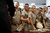 College Station, TX - October 16, 2009 -- United States President Barack Obama greets Marine Corps cadets, and Reveille, the Aggie mascot, in the Marine Corps Mess Hall at Texas A&M University, in College Station, Texas, October 16, 2009. .Mandatory Credit: Pete Souza - White House via CNP