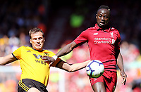 Liverpool's Sadio Mane vies for possession with Wolverhampton Wanderers' Ryan Bennett<br /> <br /> Photographer Rich Linley/CameraSport<br /> <br /> The Premier League - Liverpool v Wolverhampton Wanderers - Sunday 12th May 2019 - Anfield - Liverpool<br /> <br /> World Copyright © 2019 CameraSport. All rights reserved. 43 Linden Ave. Countesthorpe. Leicester. England. LE8 5PG - Tel: +44 (0) 116 277 4147 - admin@camerasport.com - www.camerasport.com